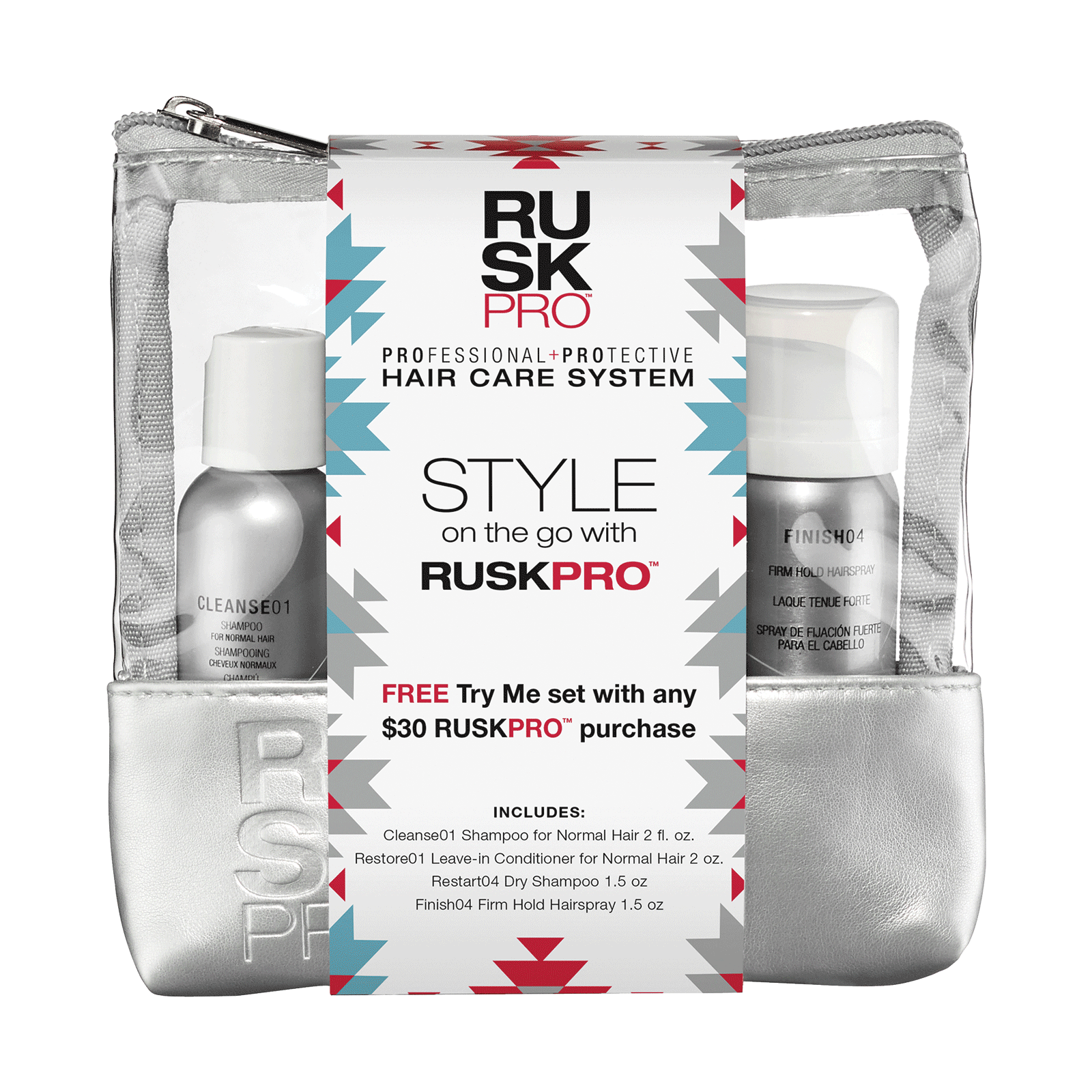 Desert Bloom Rusk PRO Shampoo, Conditioner, Hairspray